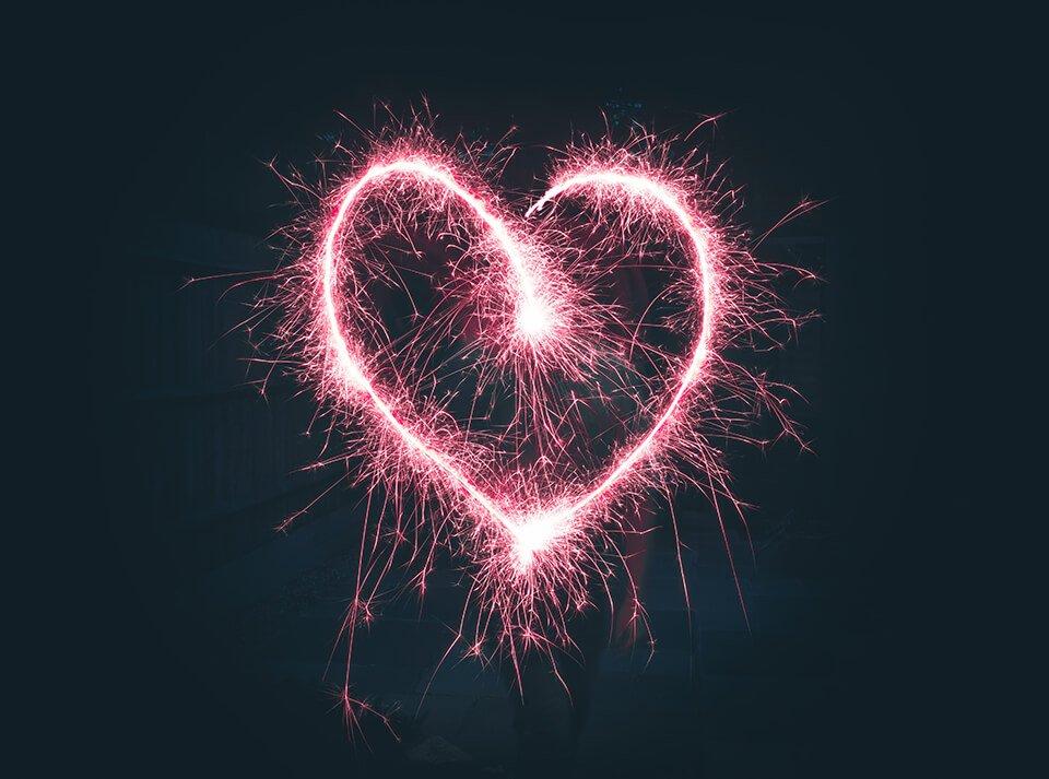 Firework stream shaped like a heart