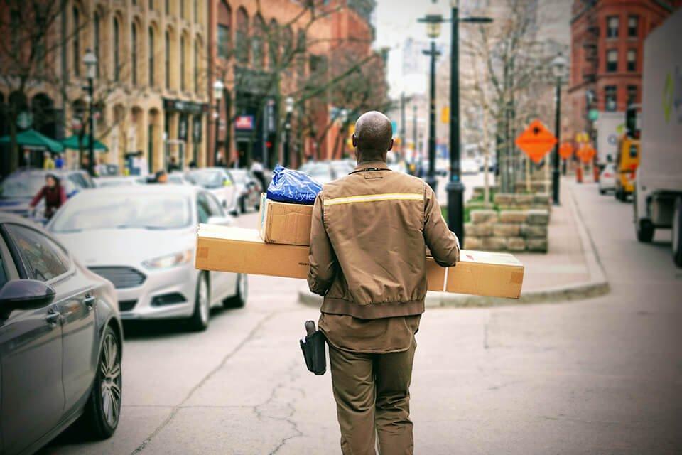 Man delivering large packages