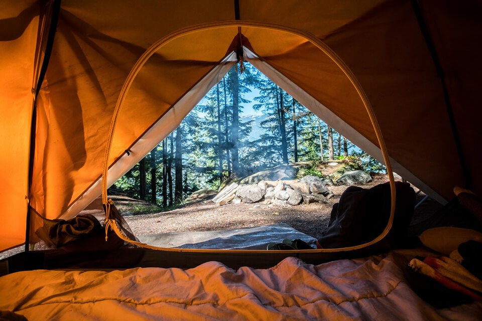 Tent opening, overlooking a forest landscape
