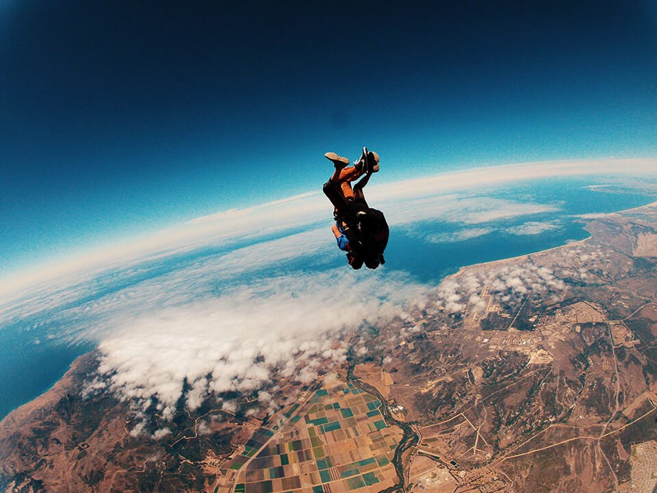 Man jumping out of plane