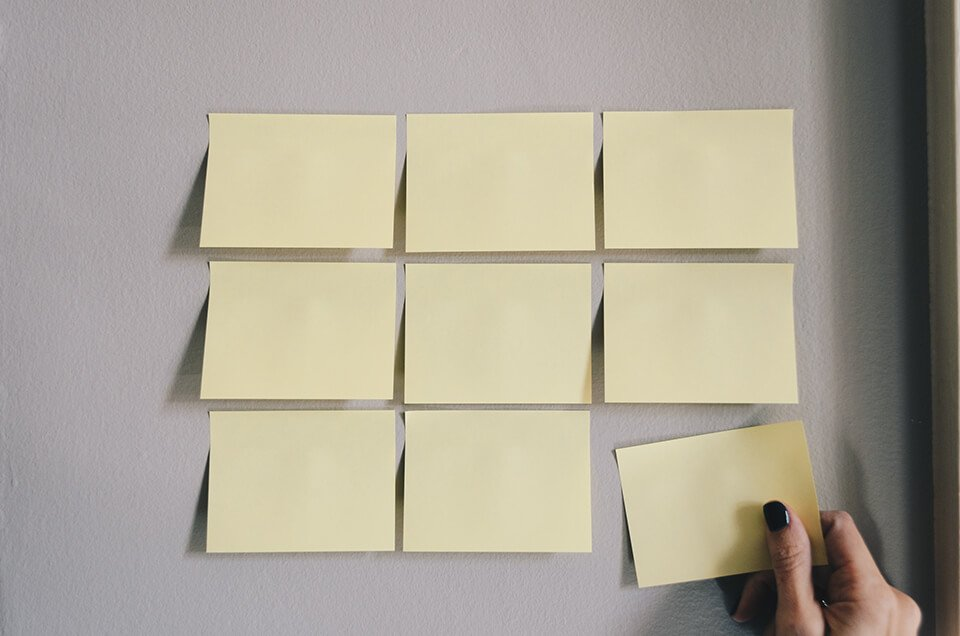 Post-it notes stuck on a wall