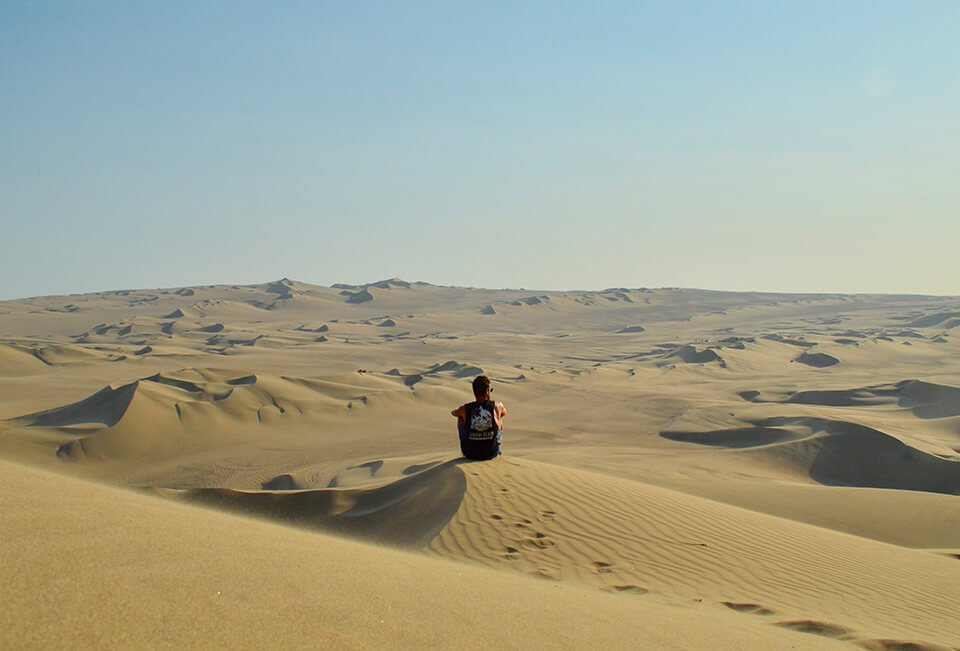 Man sitting alone in the desert